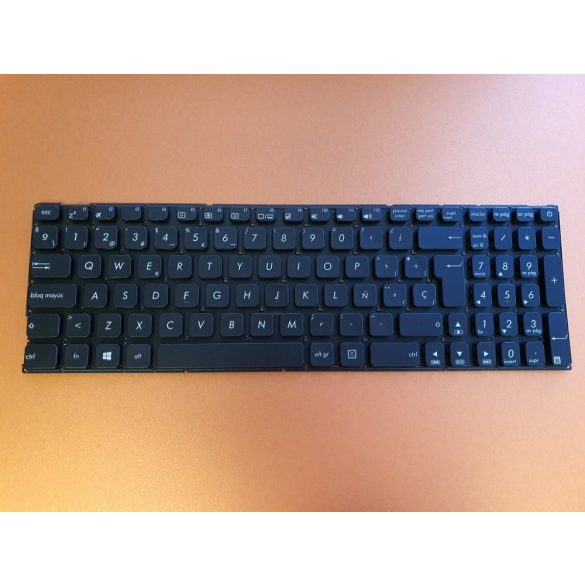 AS18 - klaviatúra spanyol, fekete (A542, K542, X542, A580U, F580U)