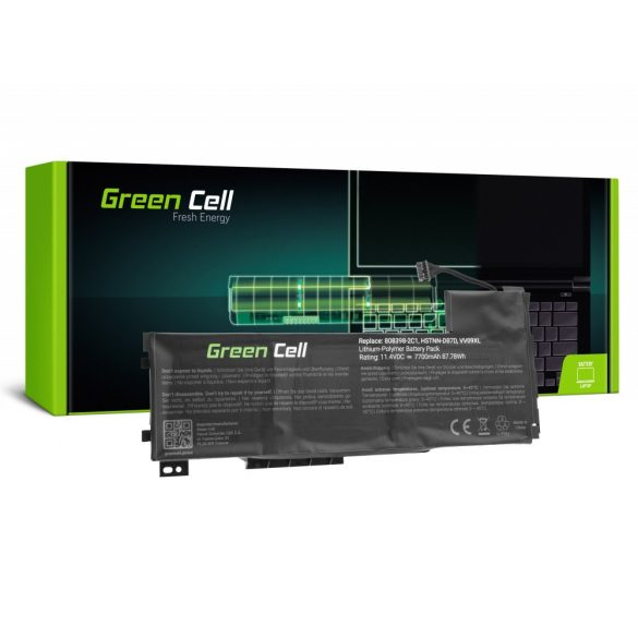 Green Cell akku HP ZBook 15 G3 G4 / 11,4V 7700mAh