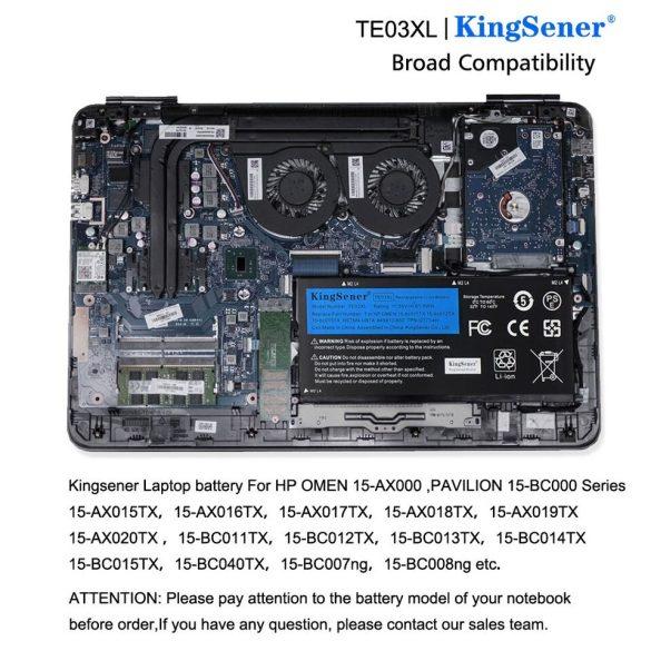 King Sener akku HP Omen 15-AX052NW 15-AX055NW 15-AX075NW 15-AX099NW, HP Pavilion 15-BC402NW / 11,55V 5300mAh